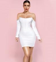White Striped Drill Chain Mini Long Sleeve Off Shoulder Bandage Dress PP20017-White