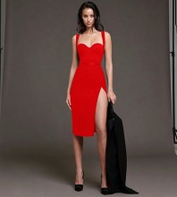 Red Backless Slit Midi Sleeveless Strappy Bandage Dress PP20018-Red