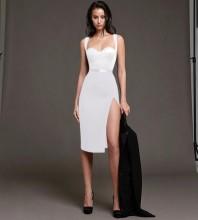 White Backless Slit Midi Sleeveless Strappy Bandage Dress PP20018-White