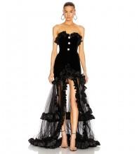 Black Strapless Sleeveless Maxi Frill Slit Bandage Dress PP20019-Black