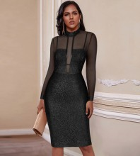 Black Striped Mesh Midi Long Sleeve High Neck Bandage Dress PP20021-Black