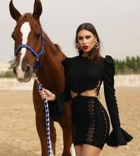 Black Tie Cut Out Mini Long Sleeve Round Neck Bandage Dress PP21108-Black