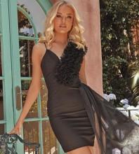 Black Asymmetrical Frill Mini Sleeveless V Neck Bandage Dress PP21111-Black