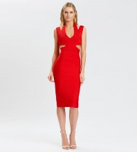 Red Striped Cut Out Midi Sleeveless Halter Bandage Dress PP21115-Red