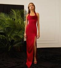 Red Frill Slit Maxi Sleeveless Halter Bandage Dress PP21310-Red