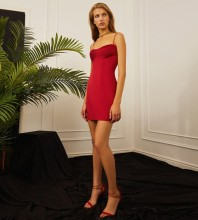 Red Backless Plain Mini Sleeveless Strappy Bandage Dress PP21311-Red