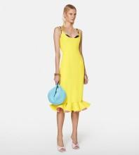 Yellow Backless Frill Midi Sleeveless Strappy Bandage Dress PP21406-Yellow