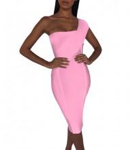 Pink Striped Asymmetrical Midi Sleeveless One Shoulder Bandage Dress PP40199-Pink