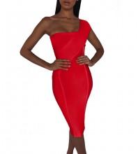 Red Striped Asymmetrical Midi Sleeveless One Shoulder Bandage Dress PP40199-Red