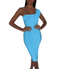 Sky Blue Striped Asymmetrical Midi Sleeveless One Shoulder Bandage Dress PP40199-Sky-Blue