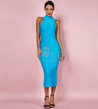 Blue Round Neck Sleeveless Over Knee Fashion Bandage Dress PPHK053-Blue
