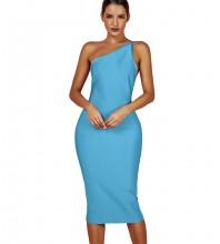 Blue One Shoulder Sleeveless Over Knee Asymmetrical Bandage Dress PPHK054-Blue