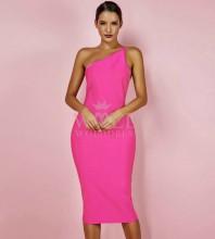 Rose Red One Shoulder Sleeveless Over Knee Fashion Bandage Dress PPHK054-Rose