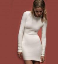 White Round Neck Long Sleeve Mini Simple Elegant Bandage Dress PPHK060-White