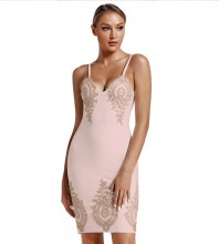 Mini Nude Strappy Sleeveless Embroidered Bandage Dress PS19112-Nude