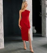Red Slit Frill Midi Sleeveless Strapless Bandage Dress PS21618-Red