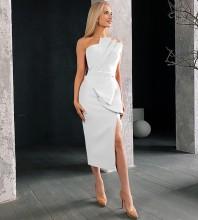 White Slit Frill Midi Sleeveless Strapless Bandage Dress PS21618-White