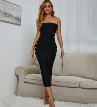 Black Distinctive Cut Out Midi Sleeveless Strapless Bandage Dress PZ0261-Black