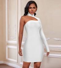 White Asymmetrical Mini Long Sleeve High Neck Bandage Dress PZ19187-White