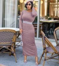 Maxi Pink Round Neck Long Sleeve Slit Pearl Bandage Dress PZ19233-Pink