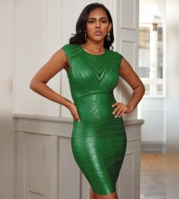 Mini Green Round Neck Striped Bandage Dress PZ19252-Green