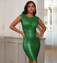 Mini Green Round Neck Striped Bandage Dress PZ19252-Green