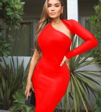 Red Cut Out Asymmetrical Mini Long Sleeve Halter Bandage Dress PZ19259-Red
