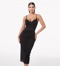 Black Distinctive Tie Midi Sleeveless Strappy Bandage Dress PZC1005-Black