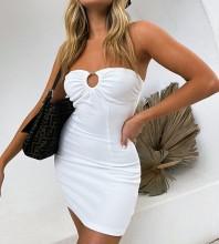 White Backless Hollow out Mini Sleeveless Strappy Bandage Dress PZC1008-White