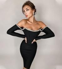 Black Backless Drill Chain Mini Long Sleeve Off Shoulder Bandage Dress PZC1013-Black
