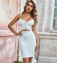 White Tie Cut Out Mini Sleeveless Strappy Bandage Dress PZC1099-White