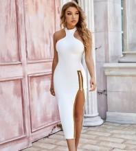 White Plain Slit Midi Sleeveless High Neck Bandage Dress PZC1107-White