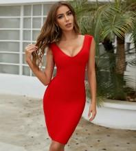 Red Slit Plain Midi Sleeveless V Neck Bandage Dress PZC231-Red