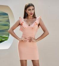 Orange Backless Frill Mini Sleeveless V Neck Bandage Dress PZC394-Orange