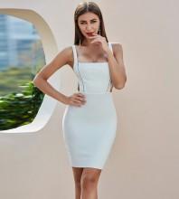 White Backless Cut Out Mini Sleeveless Strappy Bandage Dress PZC408-White