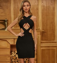 Black Distinctive Cut Out Mini Sleeveless Strappy Bandage Dress PZC442-Black