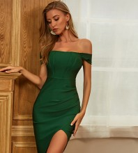 Green Slit Frill Midi Short Sleeve Off Shoulder Bandage Dress PZC452-Green