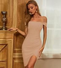 Nude Slit Frill Midi Short Sleeve Off Shoulder Bandage Dress PZC452-Nude