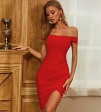 Red Slit Frill Midi Short Sleeve Off Shoulder Bandage Dress PZC452-Red