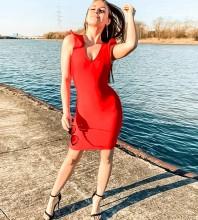 Red Backless Tie Mini Sleeveless V Neck Bandage Dress PZC463-Red