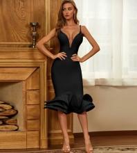 Black Frill Fishtail Midi Sleeveless Strappy Bandage Dress PZC467-Black