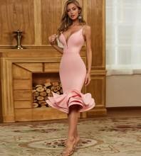 Pink Distinctive Fishtail Over Knee Sleeveless Strappy Bandage Dress PZC467-Pink