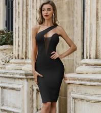 Black Asymmetrical Mesh Midi Sleeveless One Shoulder Bandage Dress PZC488-Black