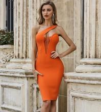Orange Asymmetrical Mesh Midi Sleeveless One Shoulder Bandage Dress PZC488-Orange