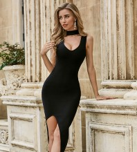 Black Slit Cut Out Over Knee Sleeveless High Neck Bandage Dress PZC489-Black