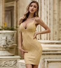 Yellow Backless Striped Mini Sleeveless Strappy Bandage Dress PZC491-Yellow
