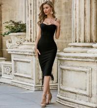 Black Slit Tie Over Knee Sleeveless Strappy Bandage Dress PZC497-Black