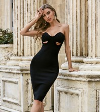 Black Backless Cut Out Midi Sleeveless Strapless Bandage Dress PZC499-Black