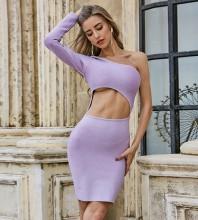 Purple Asymmetrical Cut Out Mini Long Sleeve One Shoulder Bandage Dress PZC502-Purple