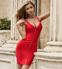 Red Metal Studded Zipper Mini Sleeveless Strappy Bandage Dress PZC509-Red